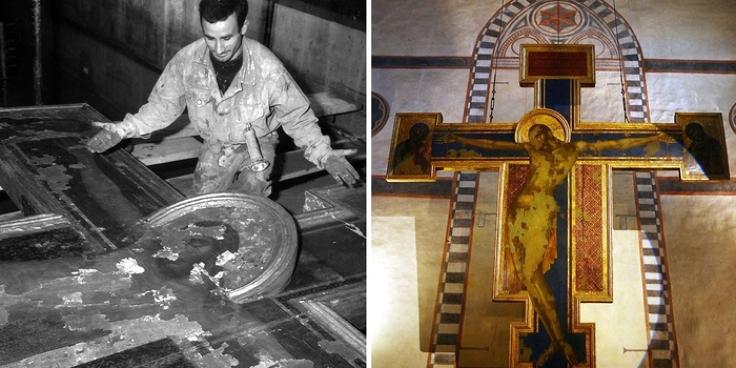 1966. L'alluvione di Firenze e il Cristo del Cimabue salvato dal fango